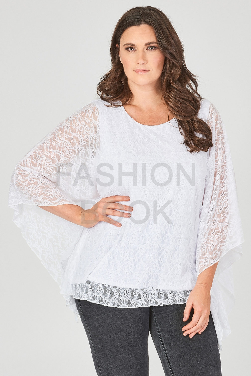 fashionbook wholesale plus size lace box top ivory