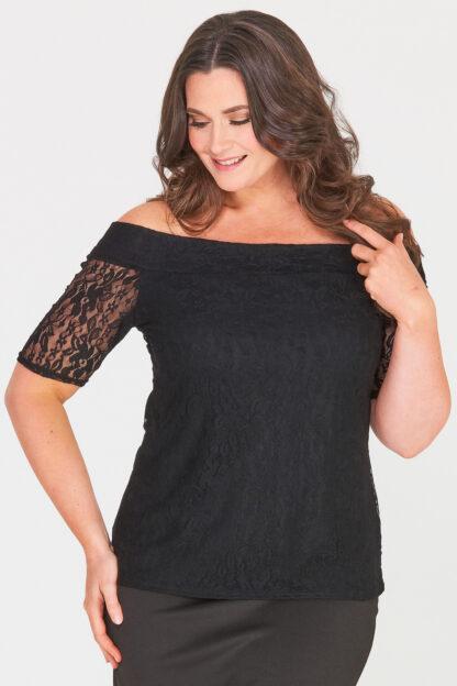 Fashionbook Wholesale Off The Shoulder Lace Plus Size Top