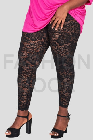 Fashionbook wholesale plus size black lace leggings