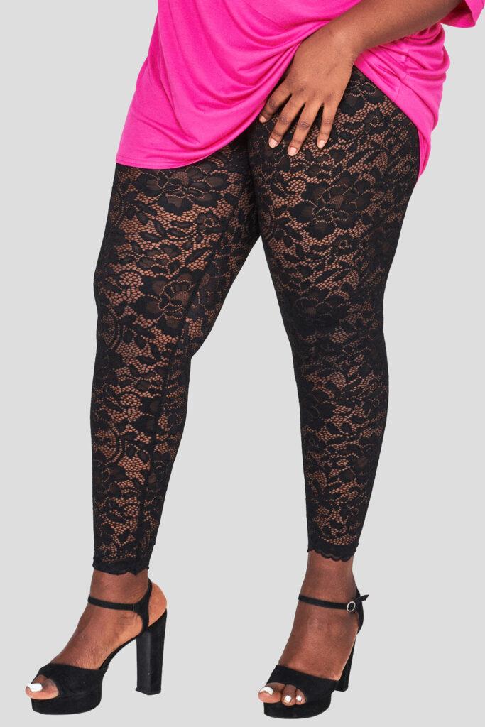 Fashionbook wholesale plus size black lace leggings