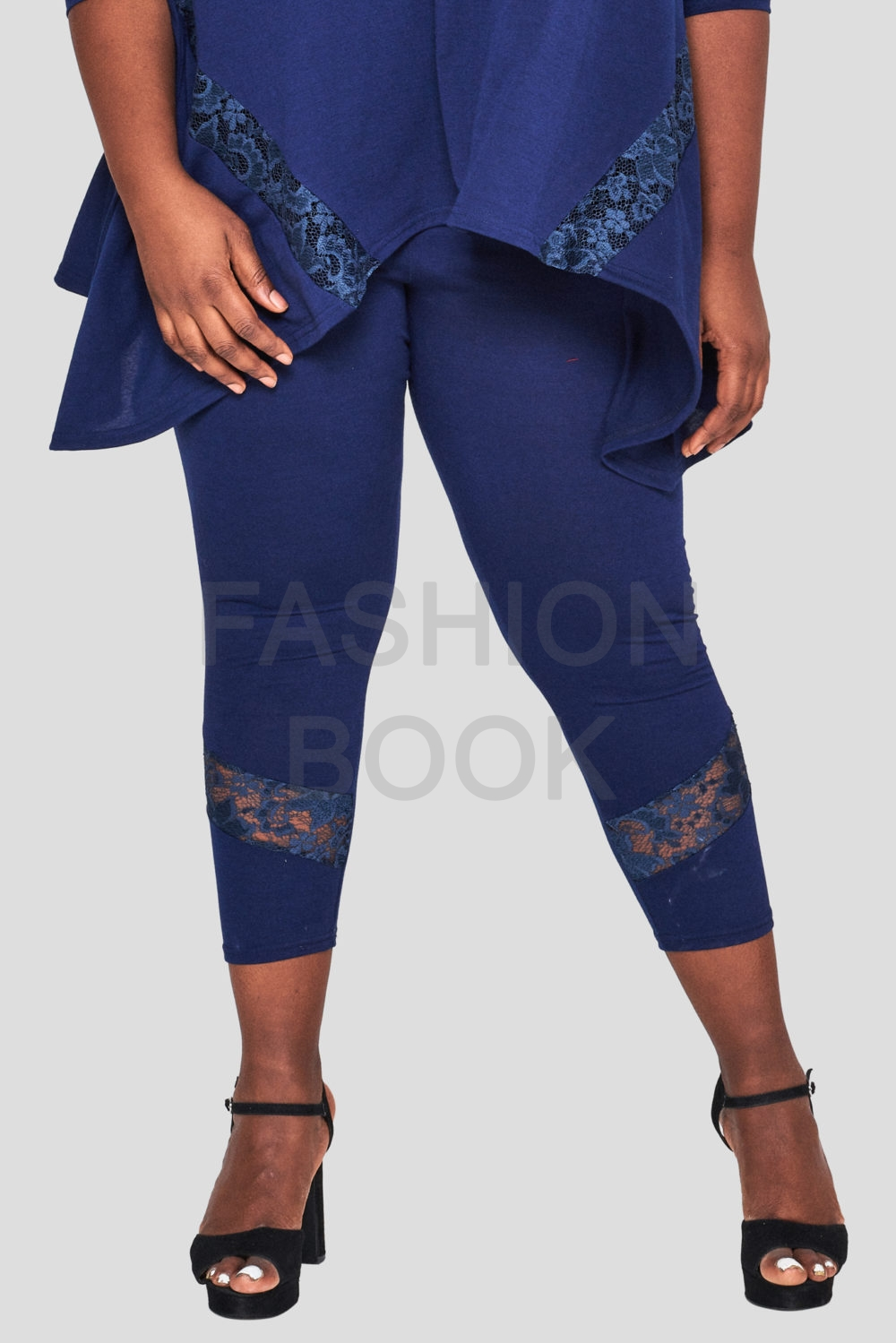 Fashionbook Wholesale Plus Size Lace Legging Navy