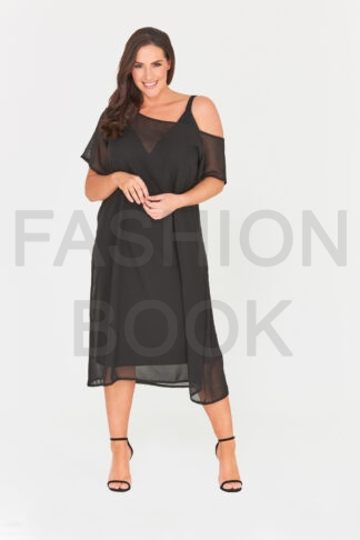 Fashionbook wholesale plus size clothing two-piece chiffon dress