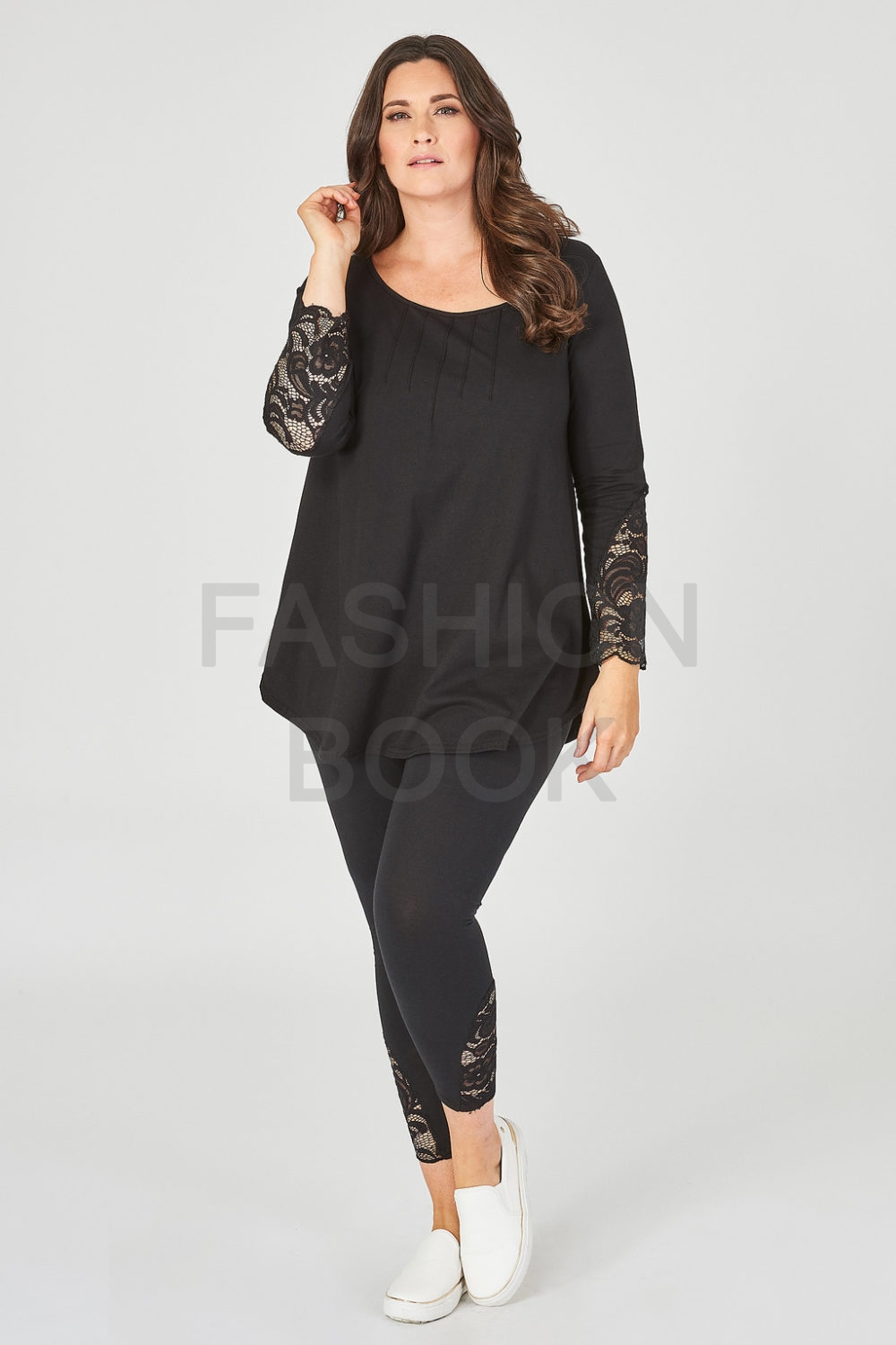 Fashionbook wholesale plus size lace cuff top