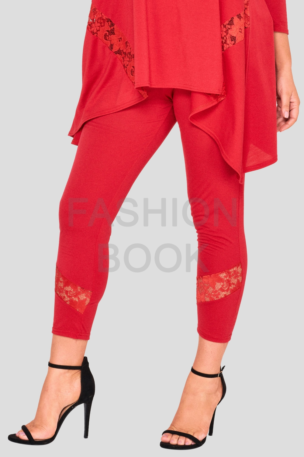 Fashionbook Wholesale Plus Size Lace Legging Red