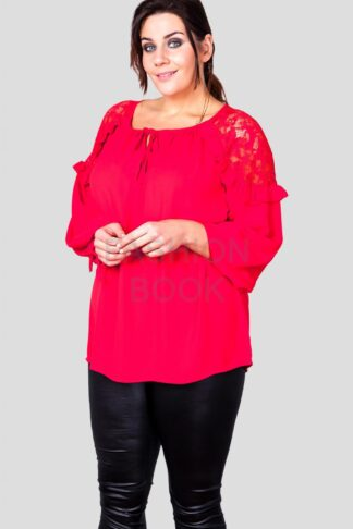 Fashionbook wholesale plus size clothing lace shoulder blouse