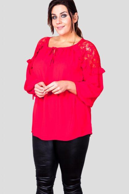 Fashionbook wholesale plus size clothing lace shoulder blouse