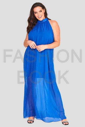 High Neck Plus Size Chiffon Maxi Dress Wholesale