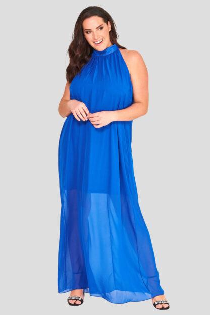 High Neck Plus Size Chiffon Maxi Dress Wholesale