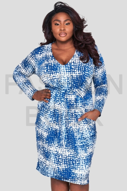 fashionbook wholesale plus size print v-neck jersey dress