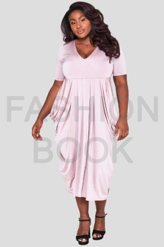 fashionbook wholesale plus size drape dress pink