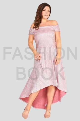 Fashionbook wholesale plus size metallic bardot dress