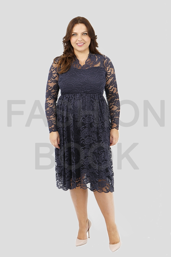 Fashionbook wholesale plus size clothing lace v-neck dress