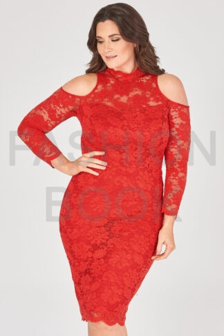 Fashionbook wholesale plus size lace cold shoulder dress
