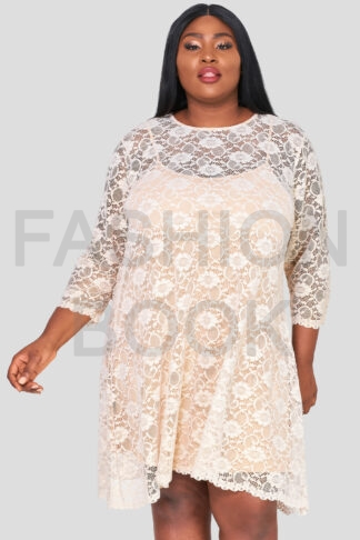 Fashionbook wholesale plus size clothing lace swing dress