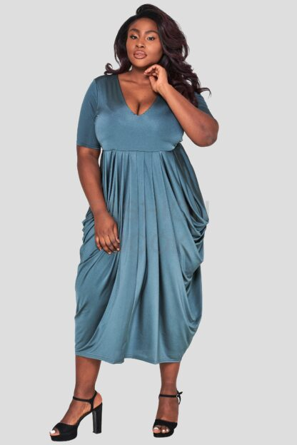 fashionbook wholesale plus size drape dress green