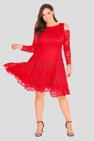 Fashionbook wholesale plus size cold shoulder lace skater dress