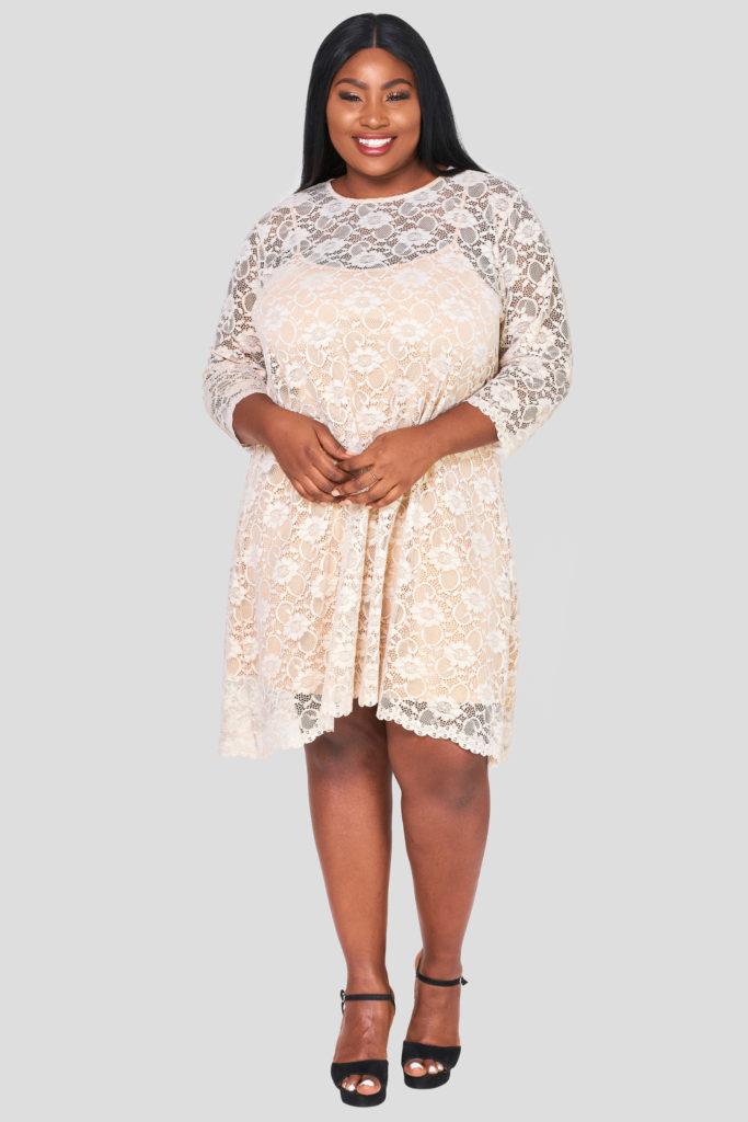 Fashionbook wholesale plus size clothing lace swing dress
