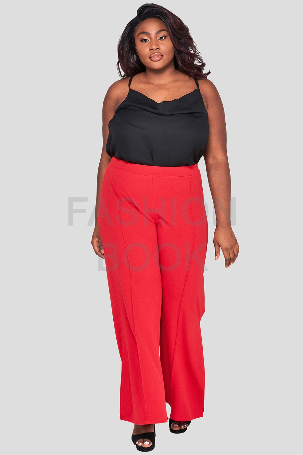 Wholesale Fashionbook Plus Size Red Wide Leg Trousers
