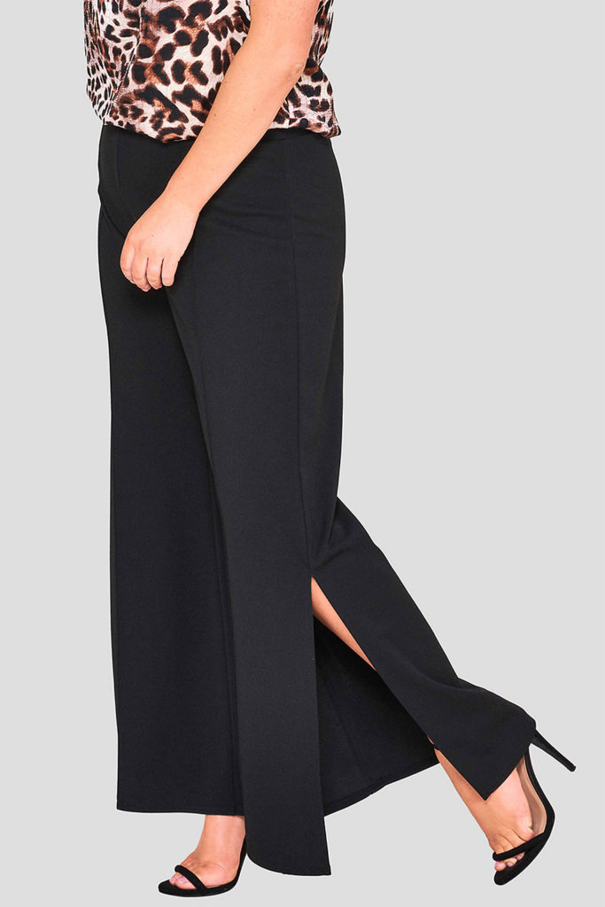 Wholesale Fashionbook Plus Size Black Wide Leg Trousers