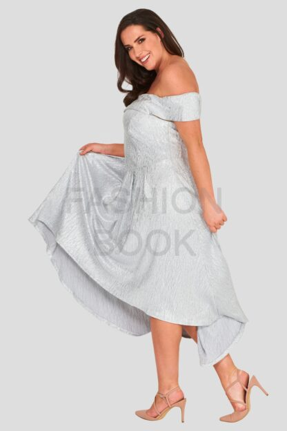 Fashionbook wholesale plus size metallic bardot dress