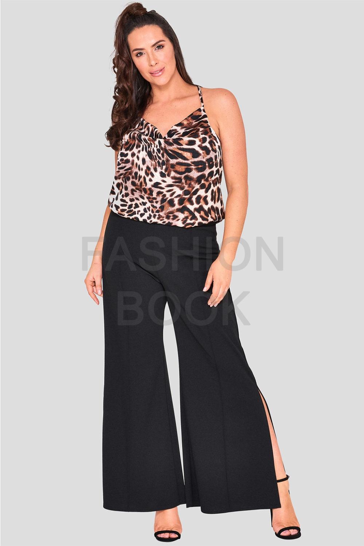 Wholesale Fashionbook Plus Size Black Wide Leg Trousers