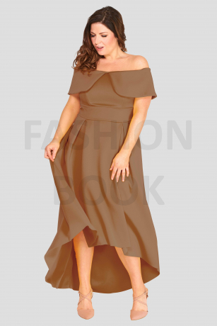 Fashionbook wholesale plus size deep bardot maxi dress ocassionwear