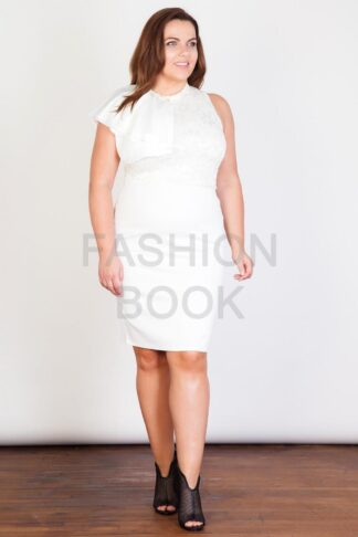 Fashionbook wholesale plus size frill shoulder lace dress