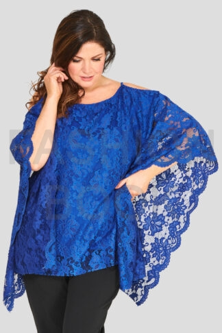 Fashionbook wholesale lace cold shoulder top plus size clothing