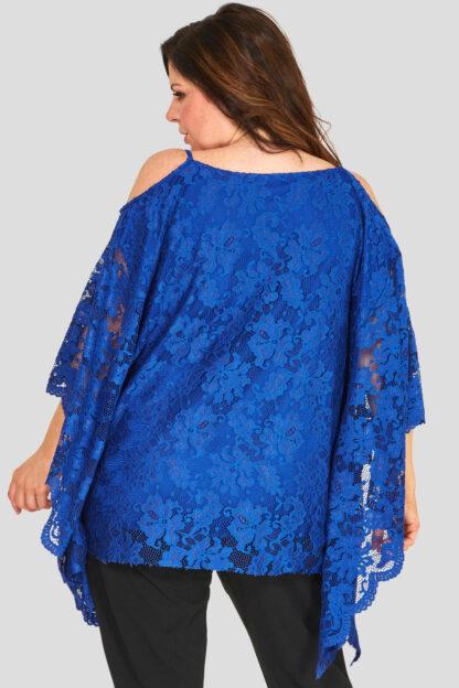 Fashionbook wholesale lace cold shoulder top plus size clothing