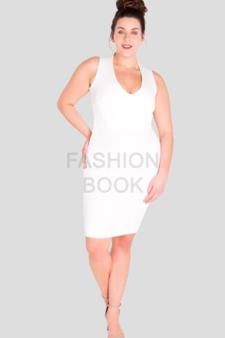 Fashionbook wholesale plus size clothing v-neck bodycon dress