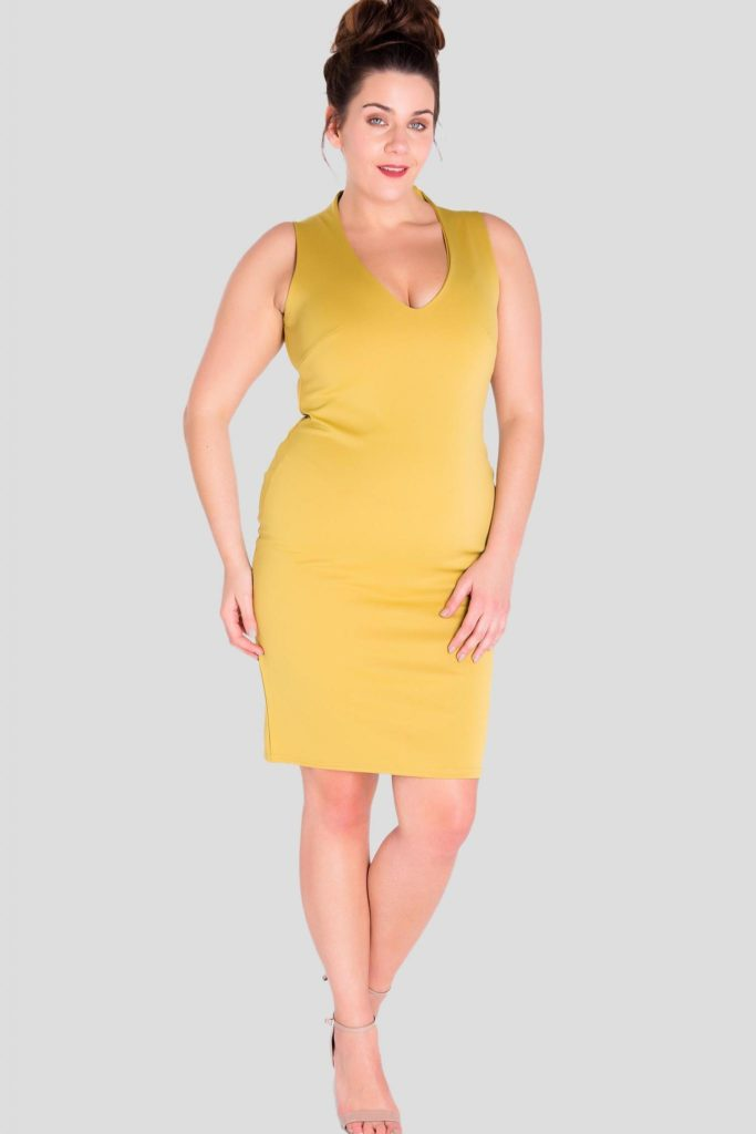 Fashionbook wholesale plus size clothing v-neck bodycon dress
