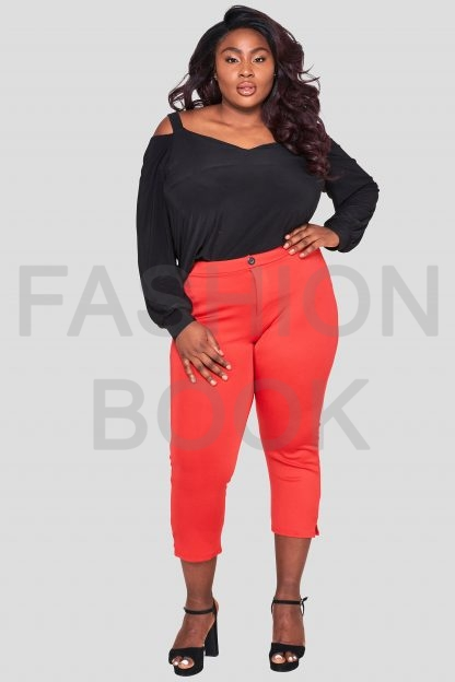 Fashionbook Wholesale Plus Size Red Cigarette Trousers