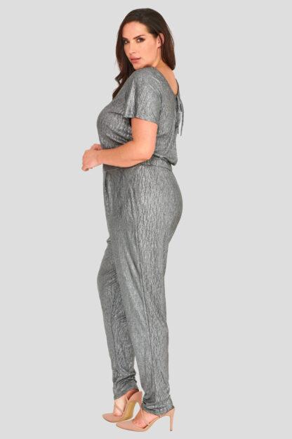 Metallic Foil Crinkle Stretch Jersey Jumpsuit Wholesale Clothing