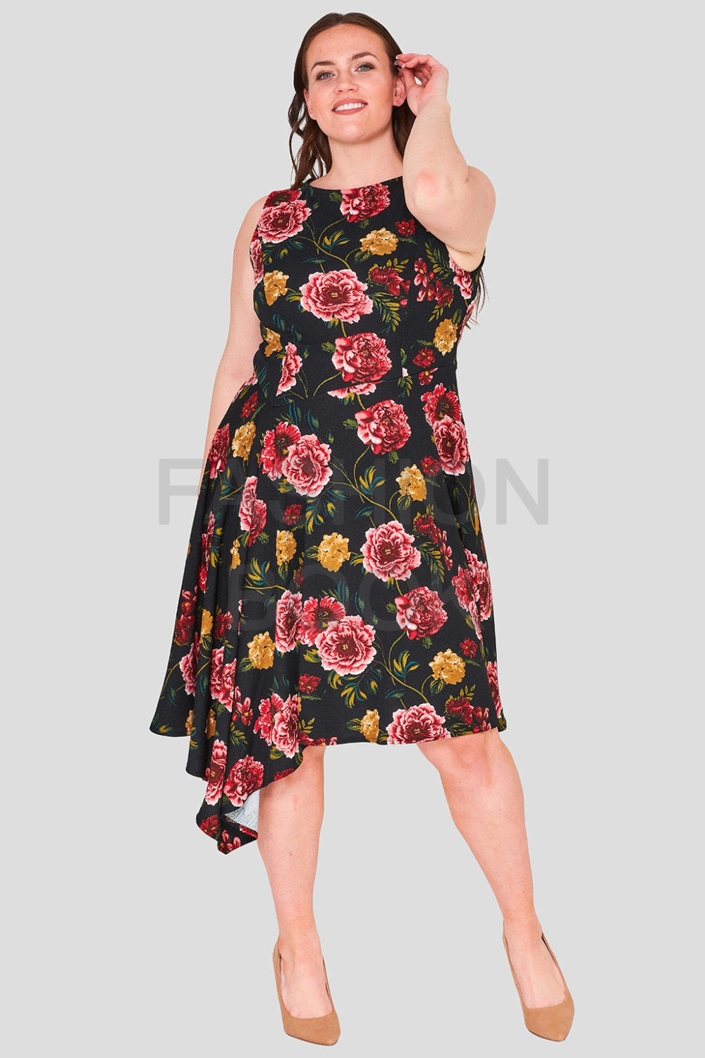 Asymmetric Rose Print Dress Plus Size Wholesale