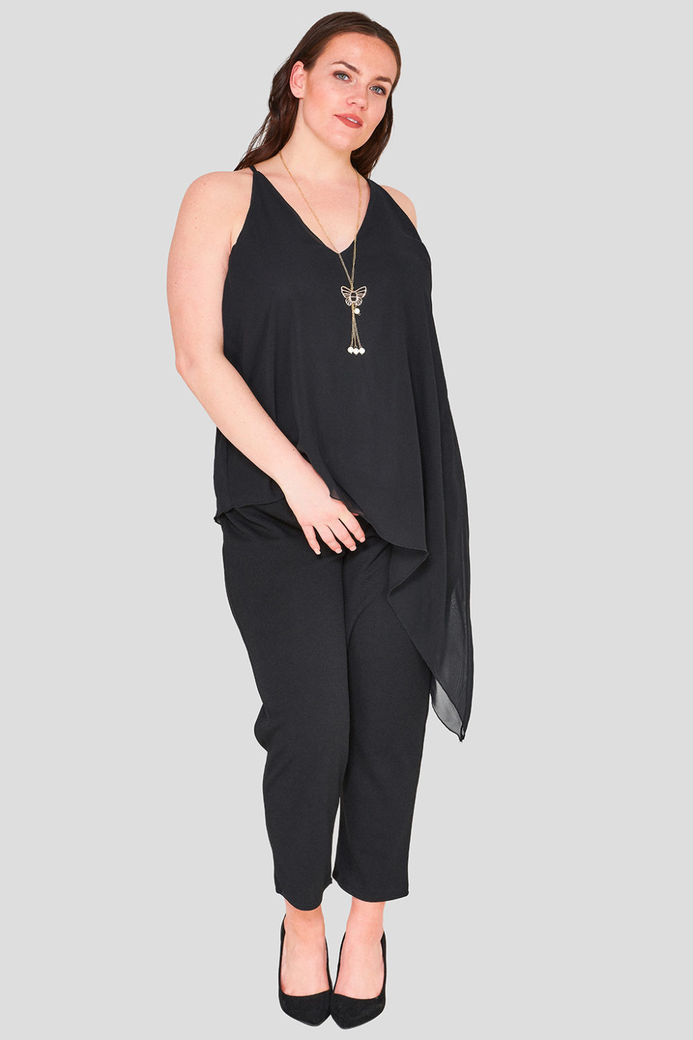 Asymmetric V Neck Cami Plus Size Wholesale Top