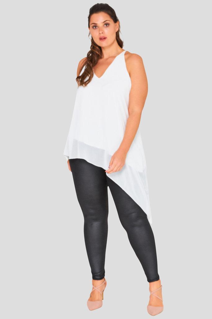 Asymmetric V Neck Cami Plus Size Wholesale Top