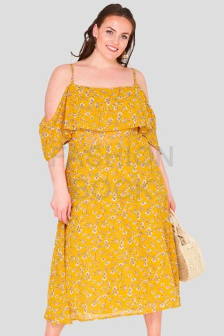 Daisy Print Frill Plus Size Wholesale Maxi Dress