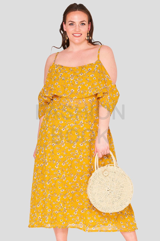 Daisy Print Frill Plus Size Wholesale Maxi Dress