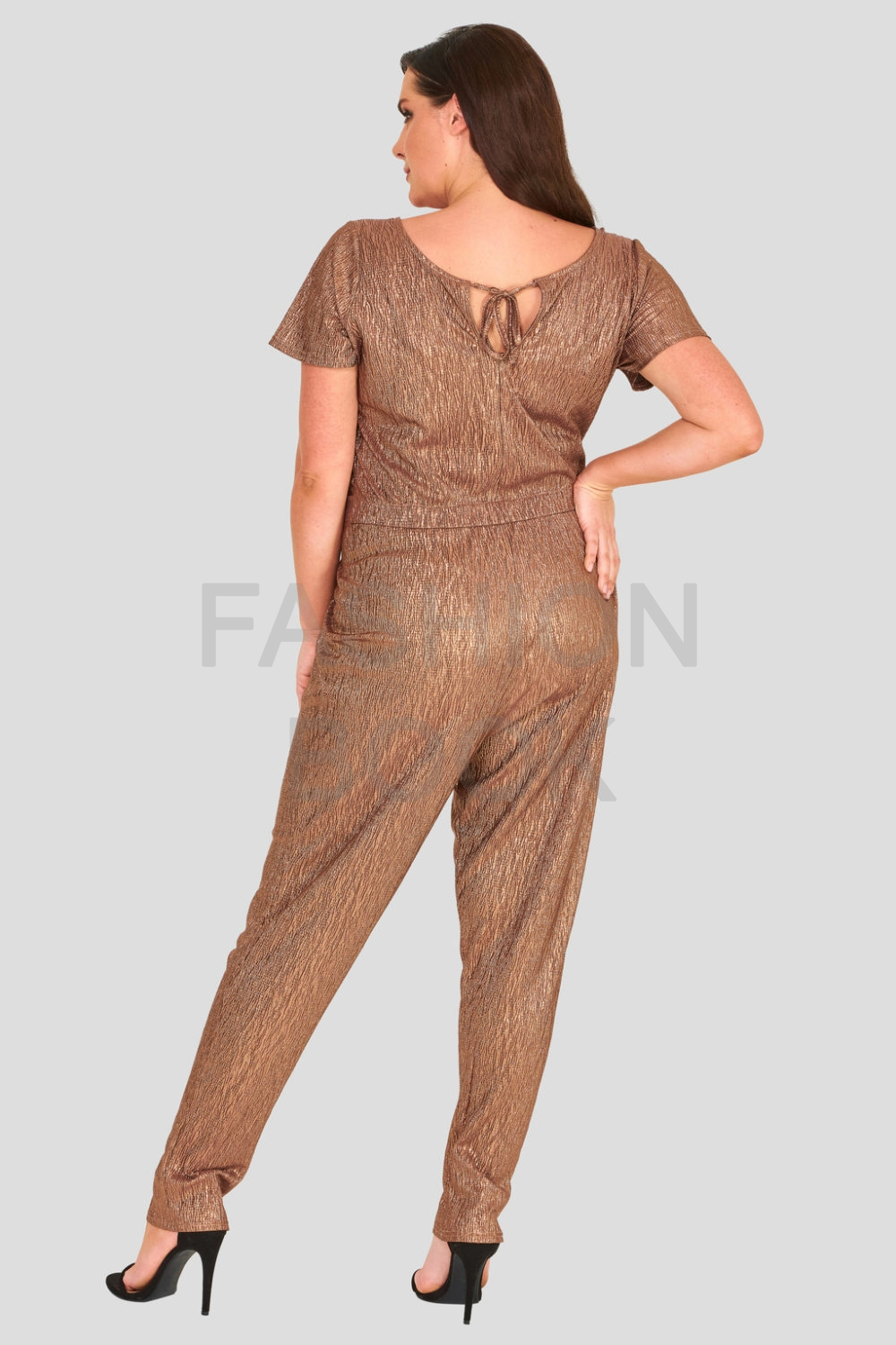 Metallic Foil Crinkle Stretch Jersey Jumpsuit Wholesale Clothing