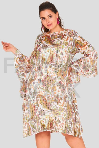 Flare Sleeve Chiffon Swing Wholesale Plus Size Dress