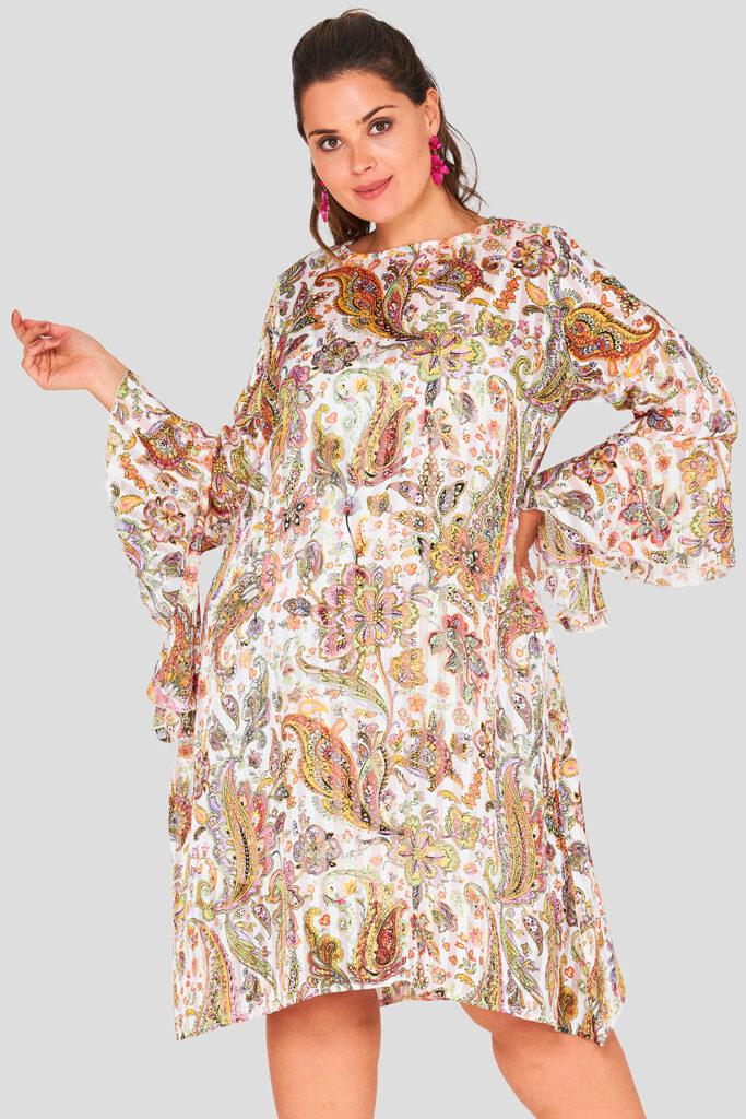Flare Sleeve Chiffon Swing Wholesale Plus Size Dress