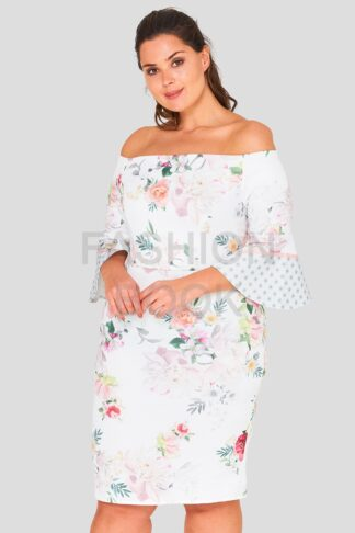 Floral Flare Sleeve Plus Size Wholesale Dress
