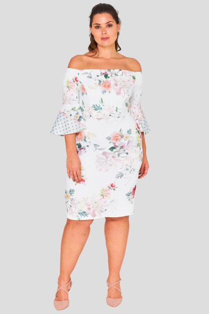 Floral Flare Sleeve Plus Size Wholesale Dress