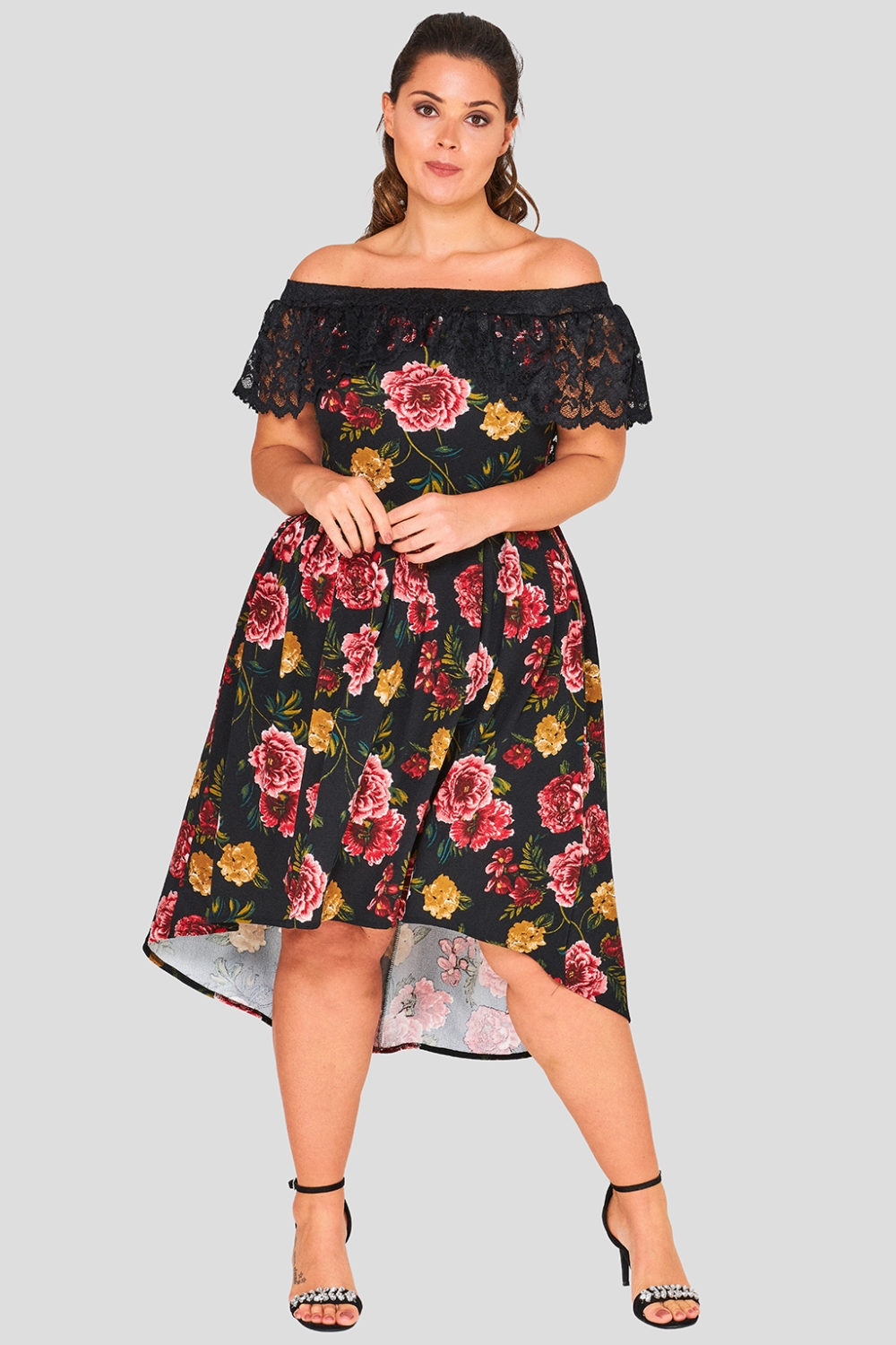 Floral Rose Dip Hem Wholesale Dress