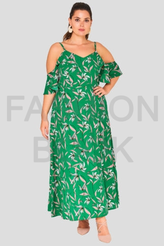 Green Leaf Frill Plus Size Wholesale maxi Dress