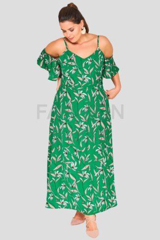 Green Leaf Frill Plus Size Wholesale maxi Dress