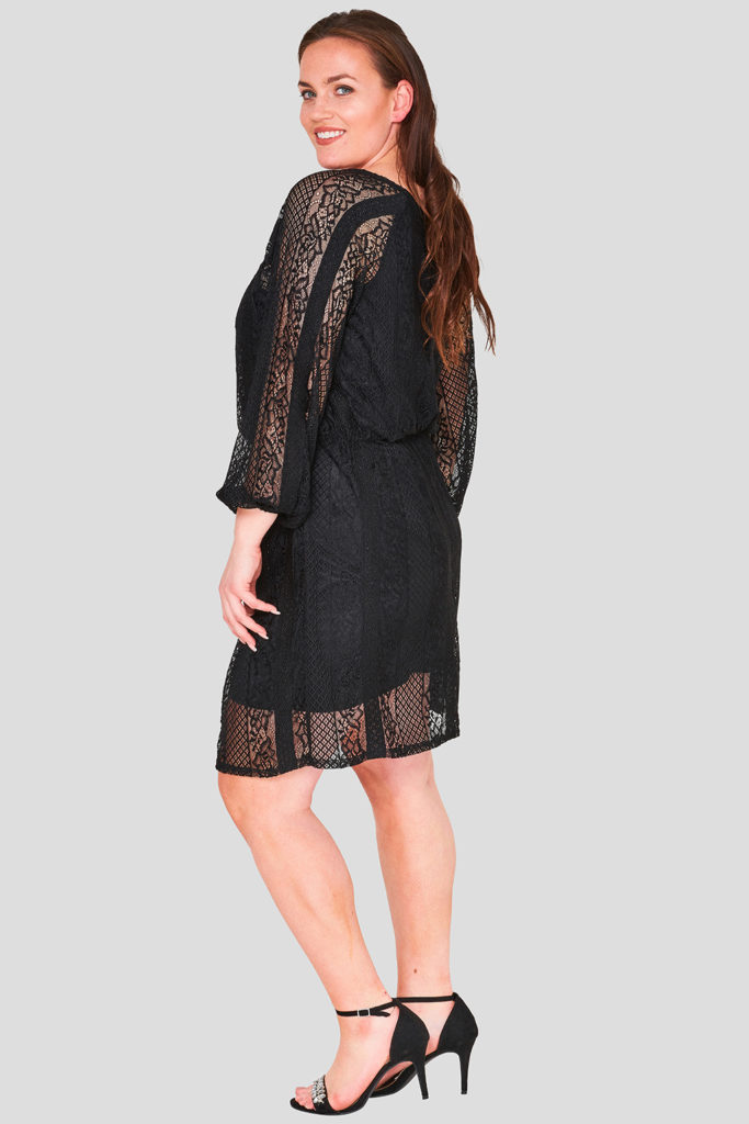 Lace Striped Long Sleeve Plus Size Wholesale Dress