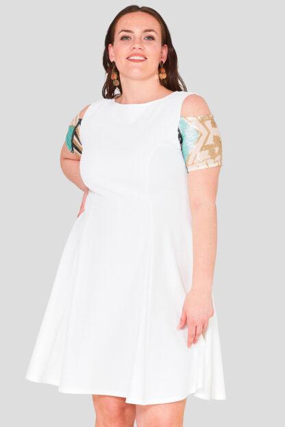 Sequin Sleeve Plus Size Wholesale Skater Dress