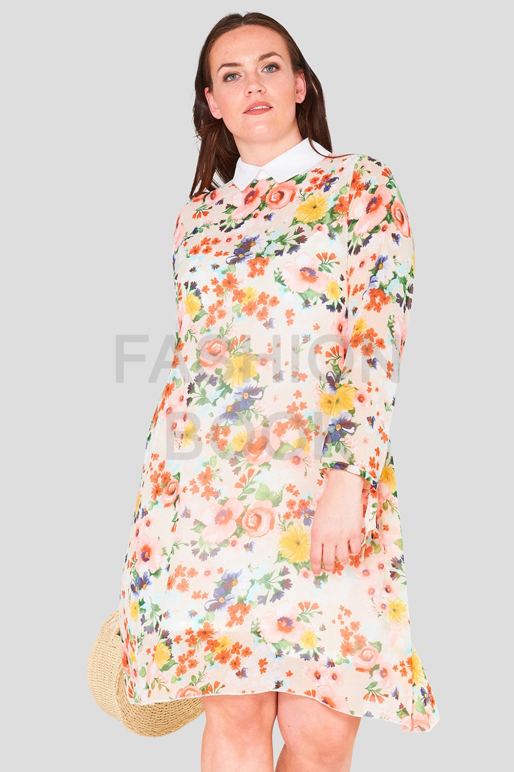 Swing Chiffon Print Collar Plus Size Wholesale Dress