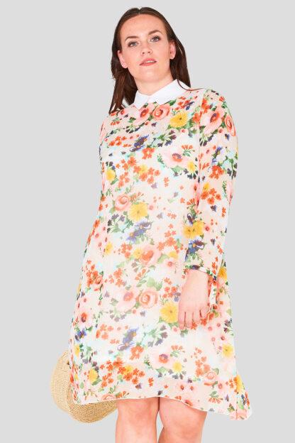 Swing Chiffon Print Collar Plus Size Wholesale Dress